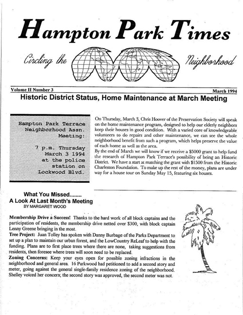 HPT Newsletter March 1994