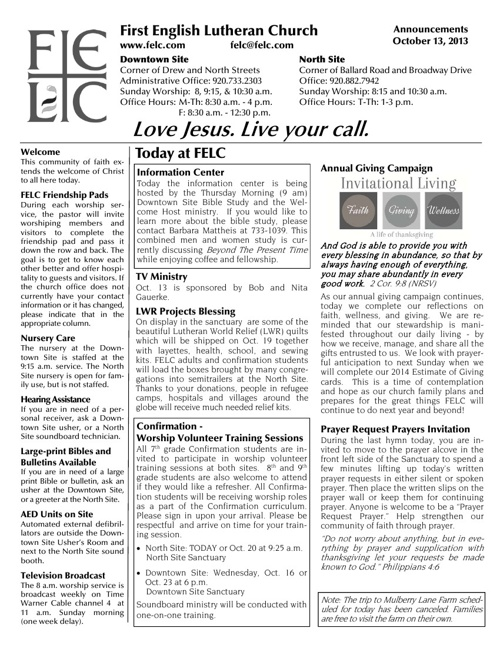 FELC Weekly Announcements for October 13, 2013