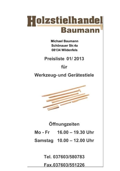 Holzstielhandel Baumann - Preisliste
