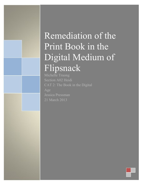 Remediation of the Print Book in the Digital Medium of Flipsnack