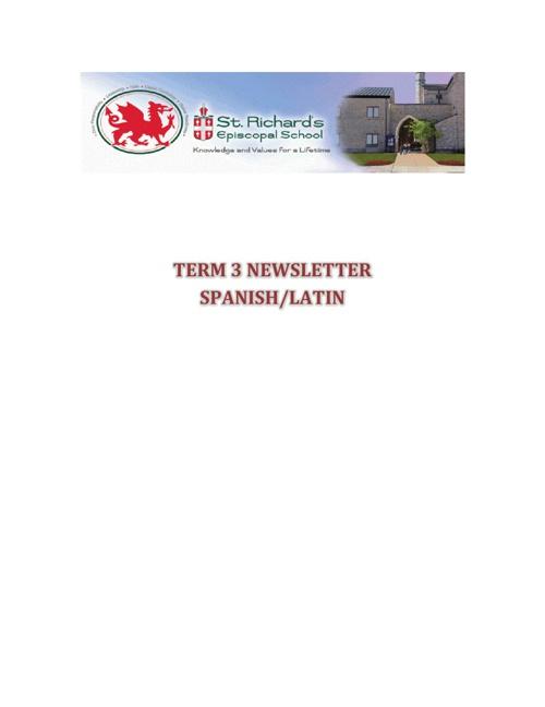 Term 3 Newsletter - Spanish and Latin