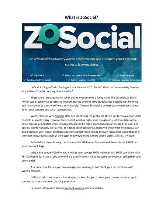 What is ZoSocial