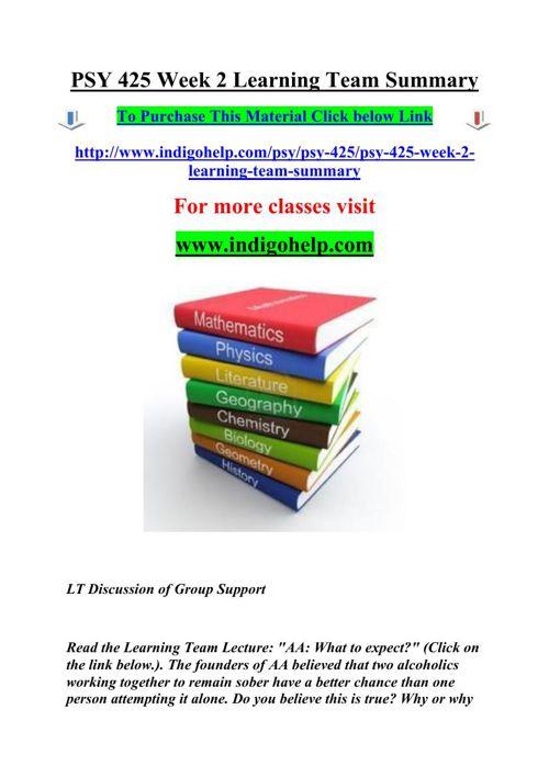 PSY 425 Week 2 Learning Team Summary