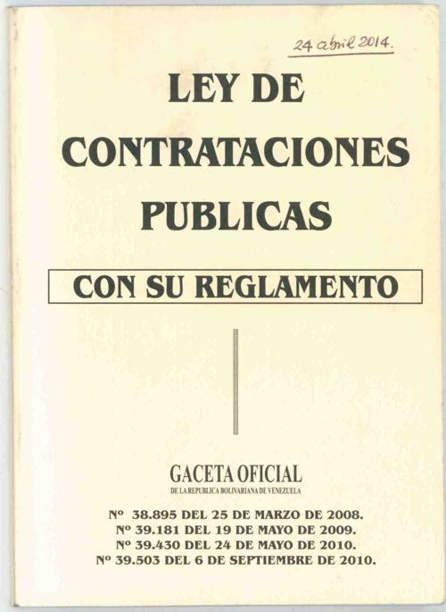 pagina de la portada Ley de Contratacion
