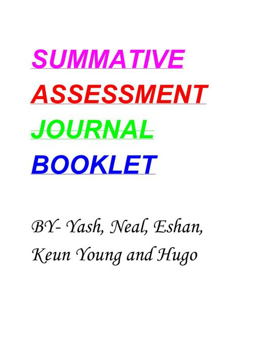 Summative Unit 3 Booklet
