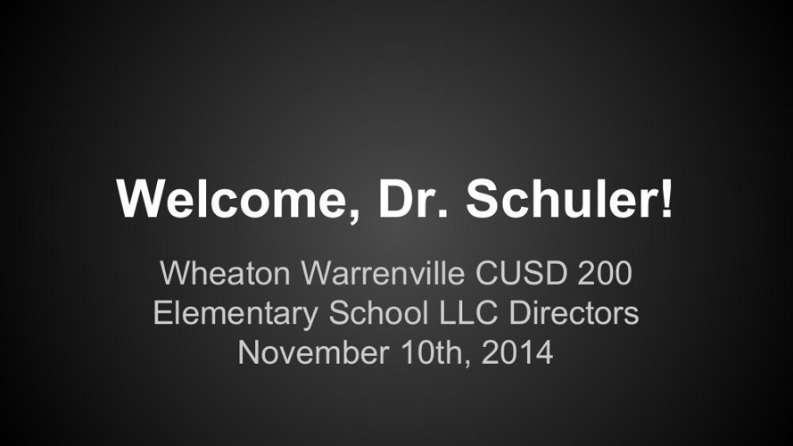 Meeting with Dr. Schuler