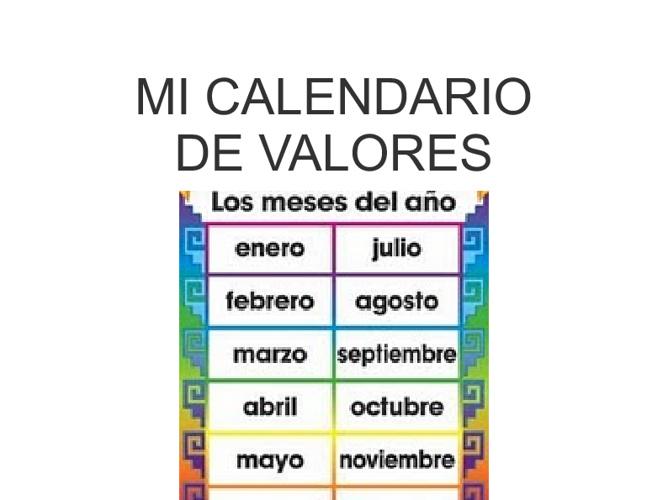 religion Mi Calendario de Valores
