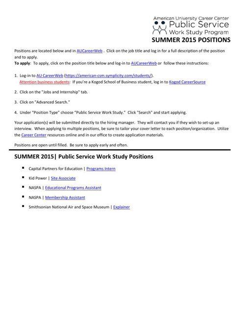 SUMMER 2015 POSITIONS