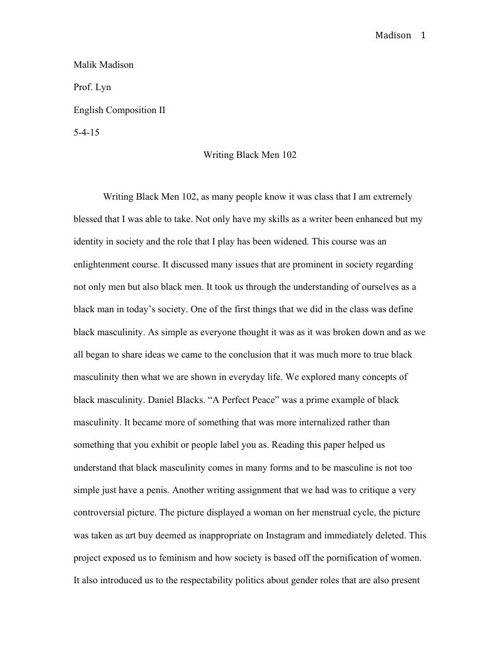 Writing Black Men 102 FINAL
