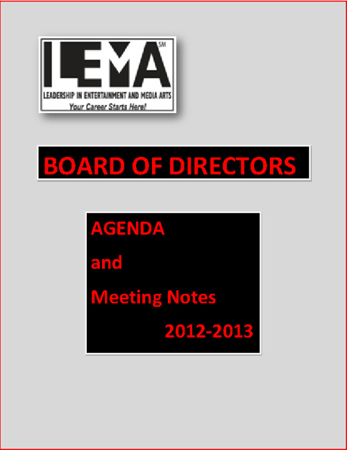 Copy of Board of Directors Agenda's and Minutes 2012-2013