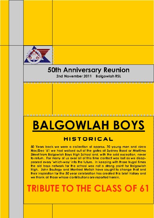 BALGOWLAH 50YR REUNION