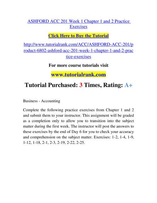 ASHFORD ACC 201 Course Experience Tradition / tutorialrank.c