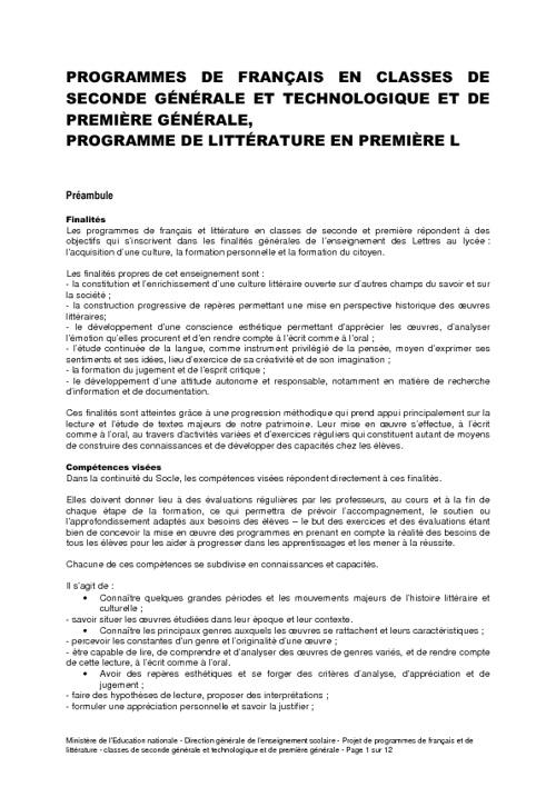 New Flipouveaux programmes de Français Lycée