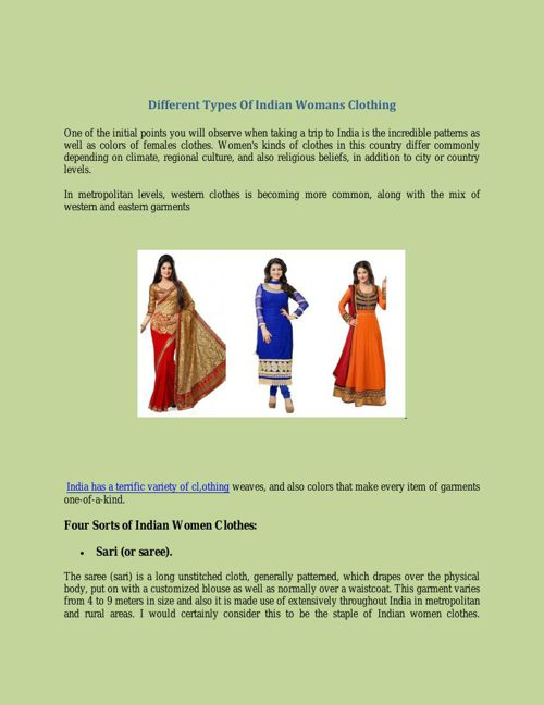 Different Types Of Indian Womans Clothing