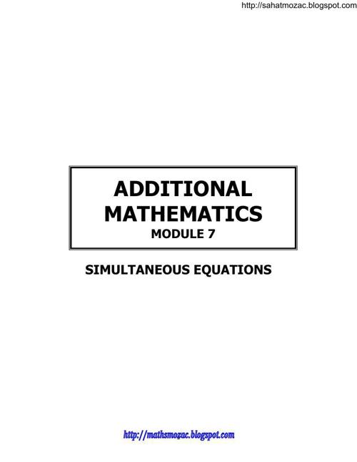MODULE Simultaneous Equations