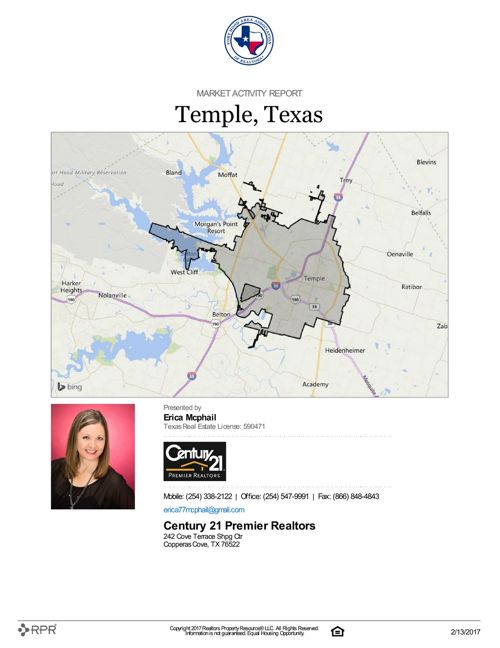 Market Activity Report for Temple, TX as of Feb. 13, 2017