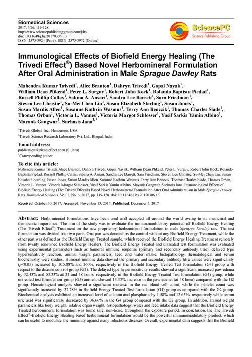 Novel Herbomineral Formulation After Oral Administration