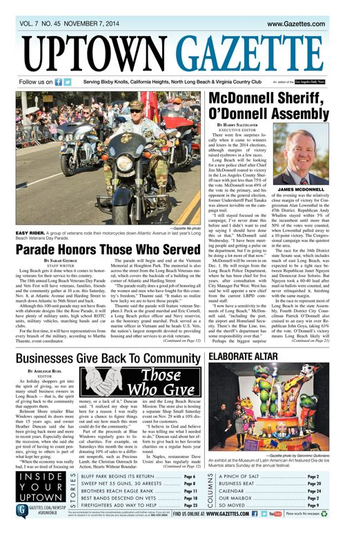 Uptown Gazette     November 7, 2014