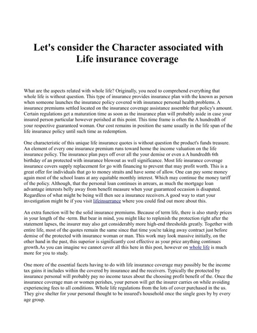 Let's consider the Character associated with Life insurance cove