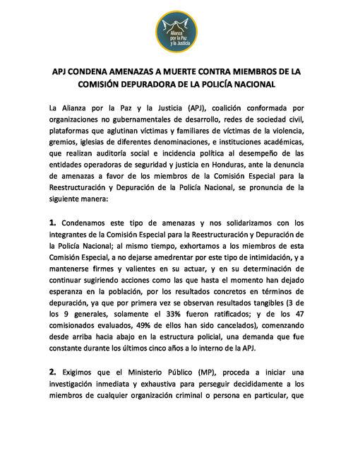 APJ condena amenazas a muerte contra miembros de la Comisión Dep