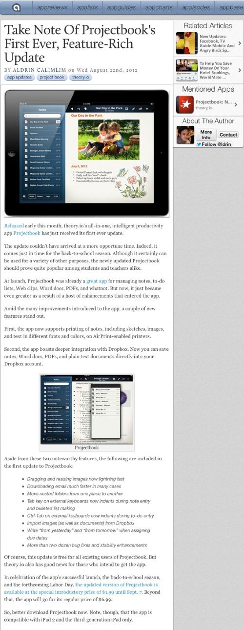 Projectbook App Launch