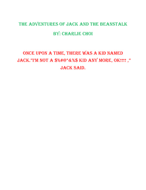 THE ADVENTURES OF JACK AND THE BEANSTALK