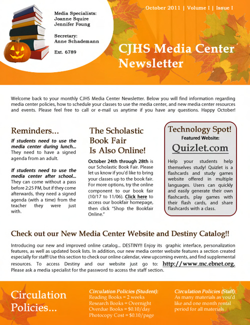 Media Center Newsletters 2011-2012