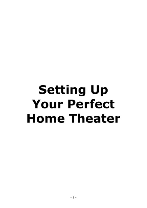 Setting up Your Perfect Home Theater