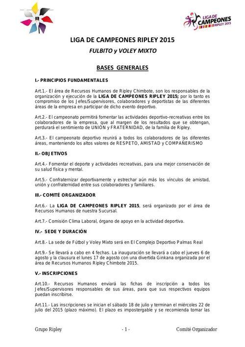 BASES CAMPEONATO DE FULBITO Y VOLEY MIXTO 2015