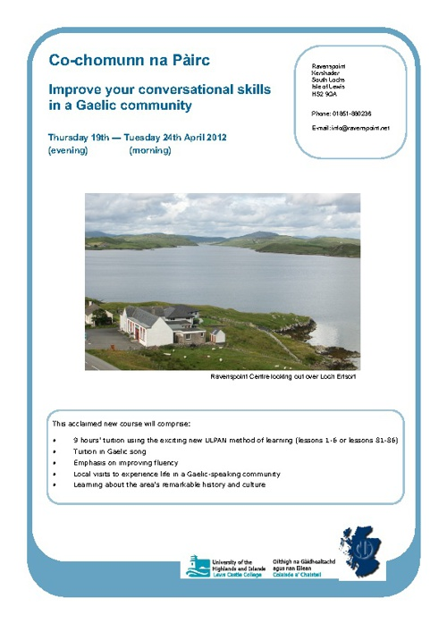 Ravenspoint Gaelic Courses