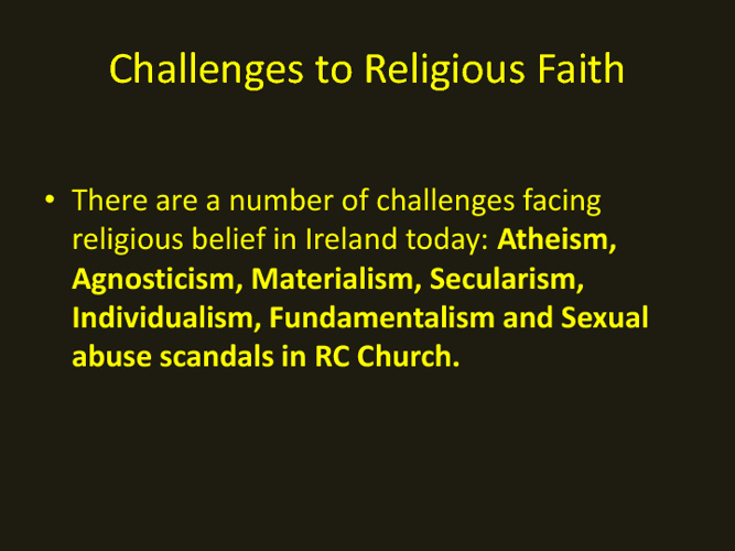 Challenges to Faith
