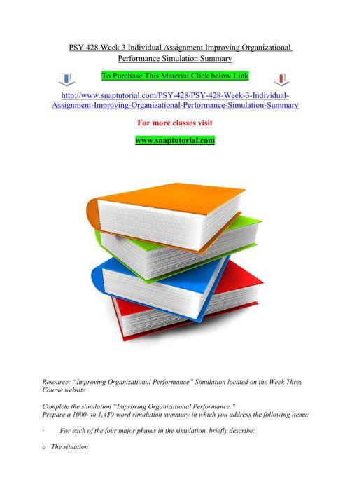 PSY 428 Week 3 Individual Assignment Improving Organizational Pe