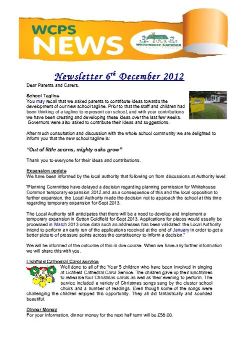 Newsletter December 6th 2012