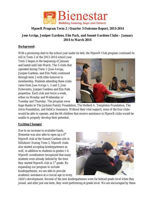 MpowR Club 2013-2014 Term 2 Outcome Report