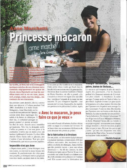 Journal de la Corse juillet 2009 - Anne Marchetti princesse maca