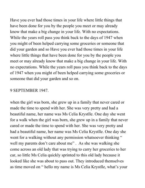 The story of Ms Celia Krystlle