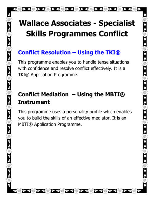Wallace Associates - Specialist Skills Programmes Conflict