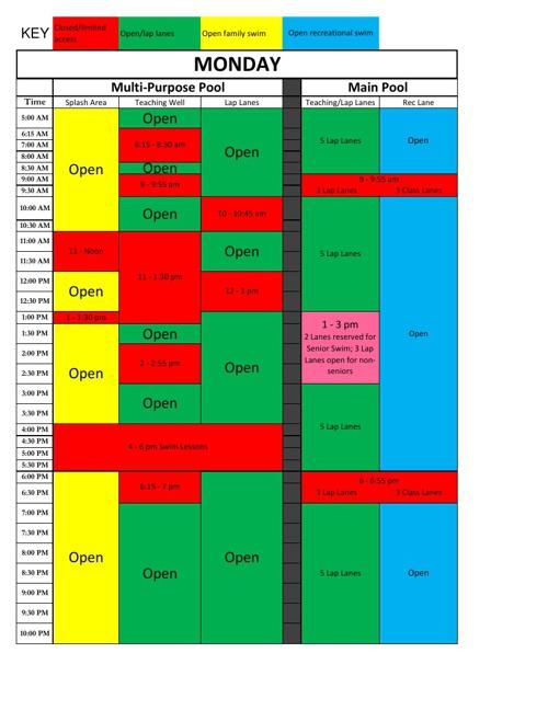 Pool Schedule 4.29.13
