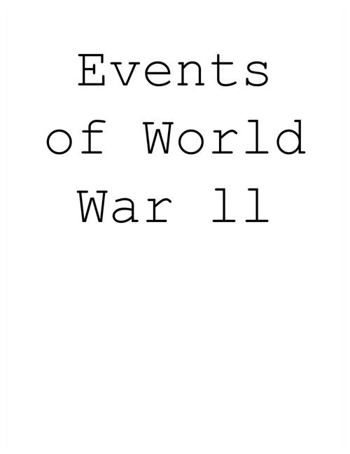 Events Of World War ll