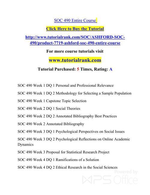 SOC 490 Potential Instructors / tutorialrank.com