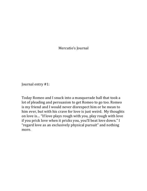Mercutio's Journal
