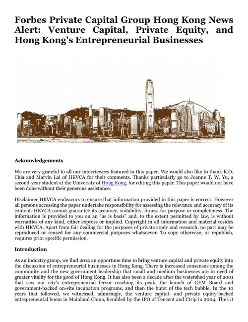 Forbes Private Capital Group Hong Kong News Alert: Venture Capit
