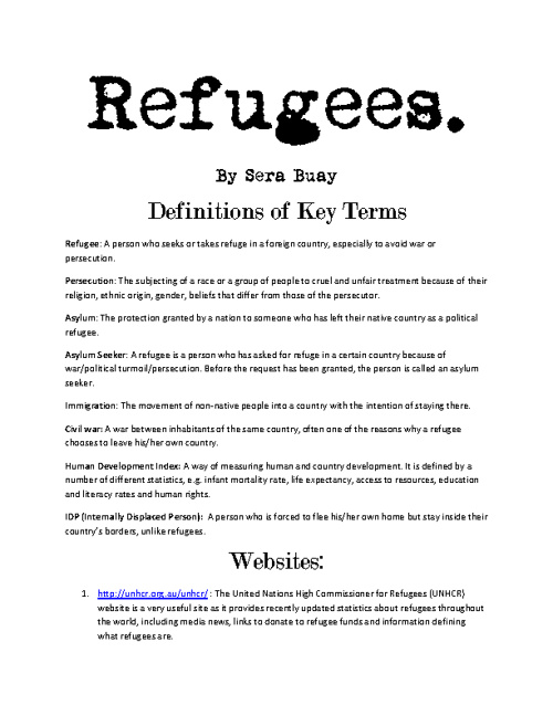 Refugees by Sera Buay