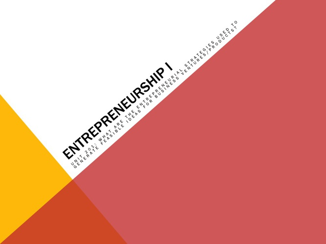 EI: Unit 201 Entrepreneurial Discoveries