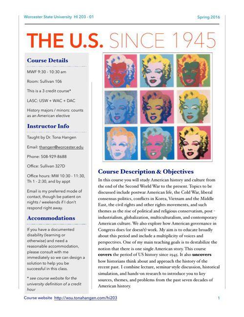 US Since 1945 (HI 203) Spring 2016