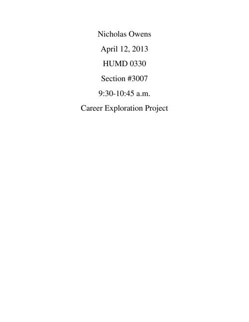 Nicholas Owens career project