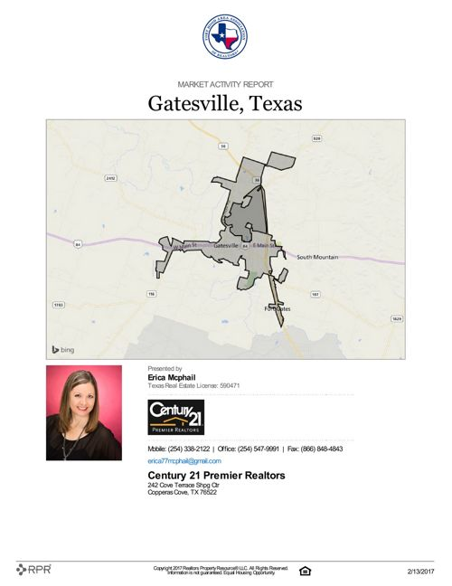 Market Activity Report for Gatesville, TX as of 2/13/17