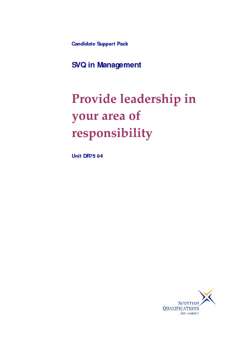 Provide leadership in your area of responsibility