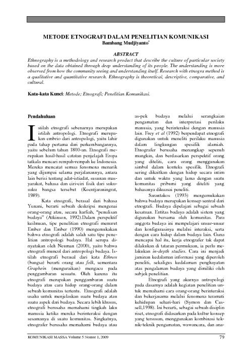 Etnografi dalam Penelitian Komunikasi