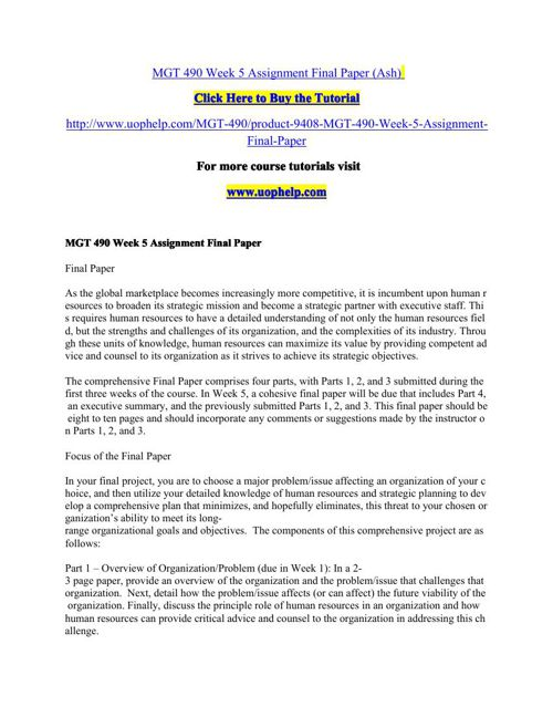 MGT 490 Week 5 Assignment Final Paper